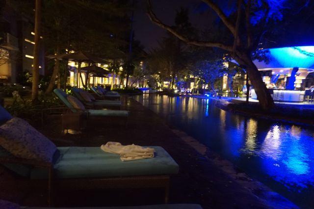 La piscine en ambiance nocture, nage avec les grenouilles