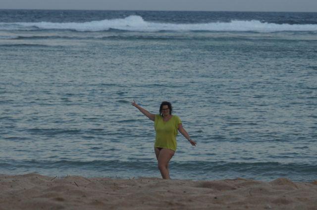 L'eau tiède de notre plage privée est tout de même agréable.